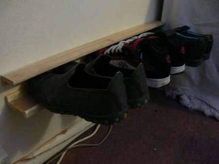 Outrageously cheap and ingenious shoe rack.